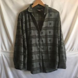 Chico's Green Patterned Long Sleeve Blouse